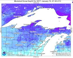 snow depth report map around Lake Superior