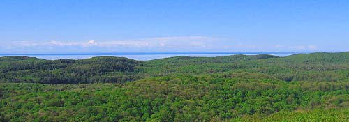 view of porcupine mountains from the Summit Peak lookout tower