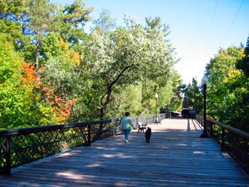 walking across the bayfield iron bridge