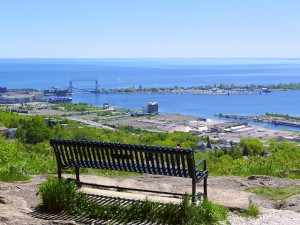 The Duluth harbor and canal park from a scenic overlook at Enger Park gardens