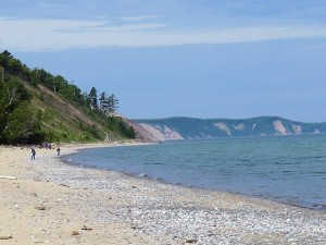 Grand Marais beach with the Grand Sable Dunes in the backgrouind