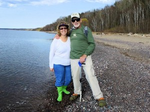 The Agate Hunters (Jo and Ross) finishing up after a morning on the Black River Harbor beach.