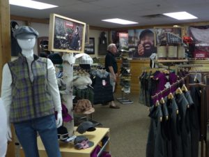 "The factory showroom with a variety of the Stormy Kromer ""Made in America"" apparel products."