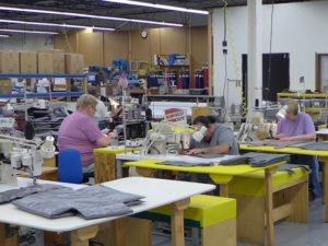 This group is working on Stormy Kromer vests.