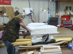 Boat cushions being re-manufactured at this work station.