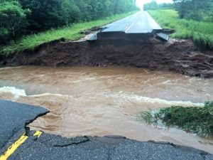 One of many total road washouts on roads near Lake Superior.